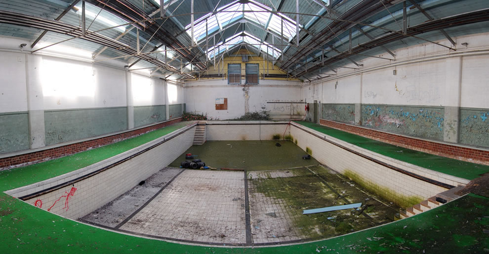 Mossy swimming pool at abandoned Eastmoor Reformatory