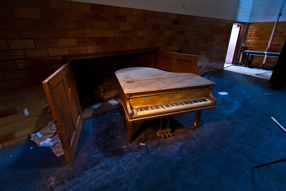 Piano in abandoned school in Gary, Indiana