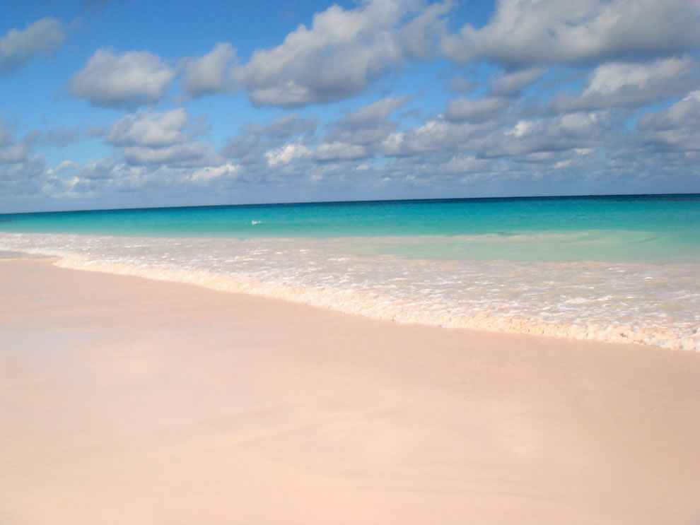 Pink sand at Pink Sands Beach, Harbour Island, Bahamas