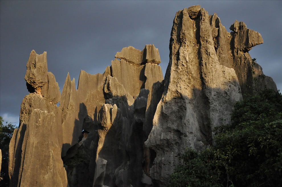 Shilin Stone Forest consists of 1,000 stone pillars from 15 and 100ft high