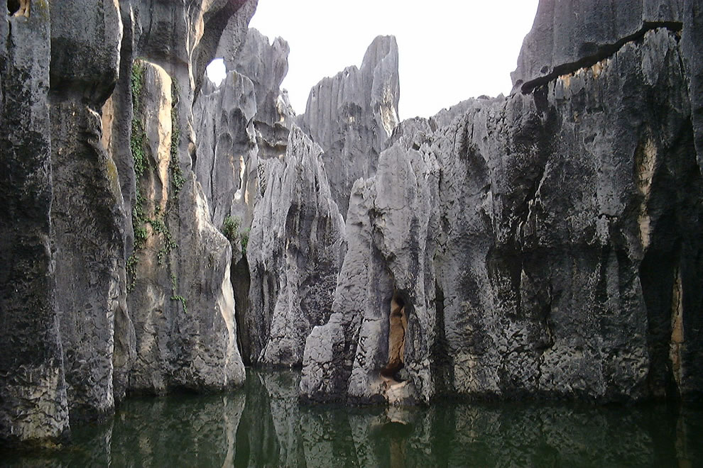 Sword peak pond in Shilin Stone Forest
