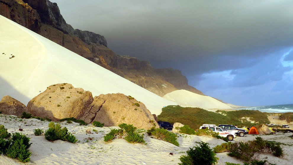 The high sand dunes of Ar'ar piled up against the rock by the monsoon winds shortly after sunrise
