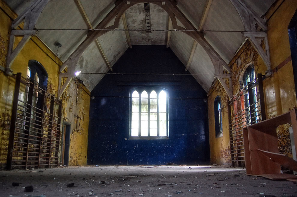 This is the interior of a crumbling chapel which is part of the derelict complex formerly known as Eastmoor Reformator