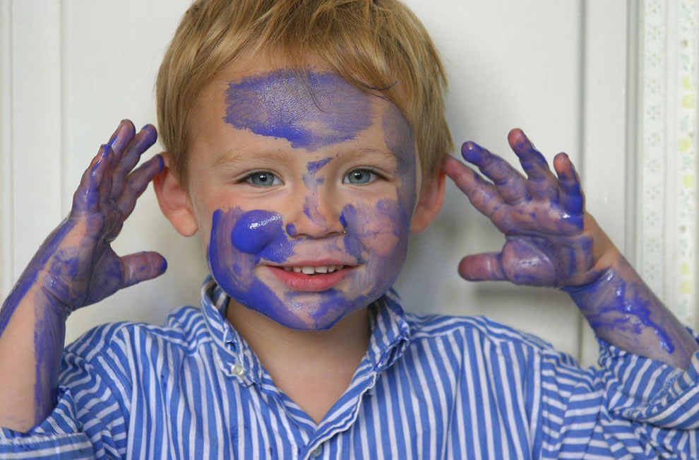 3 year old with paint