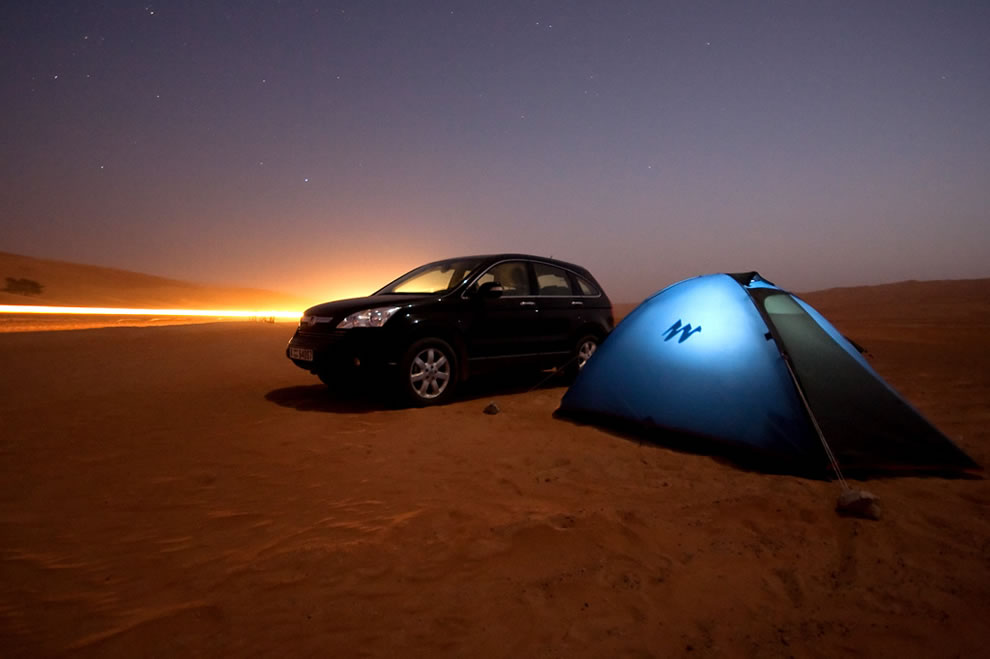 A night under the tent in the Wahiba Sands desert near to Al Mintarib, Sultanate of Oman