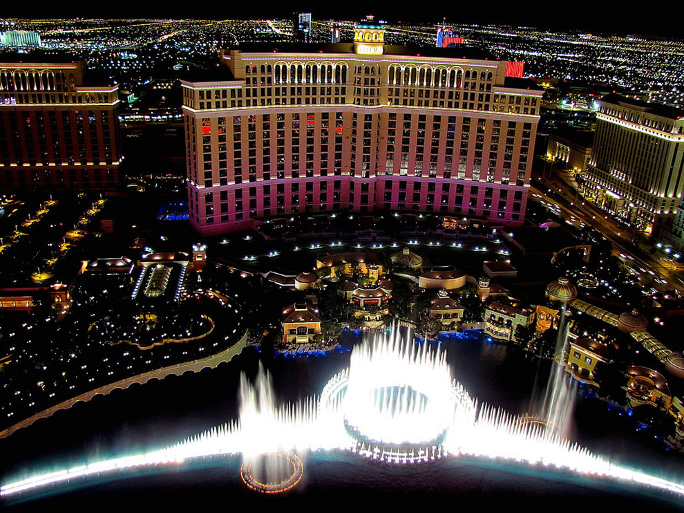 A night view of the Bellagio and Las Vegas from above