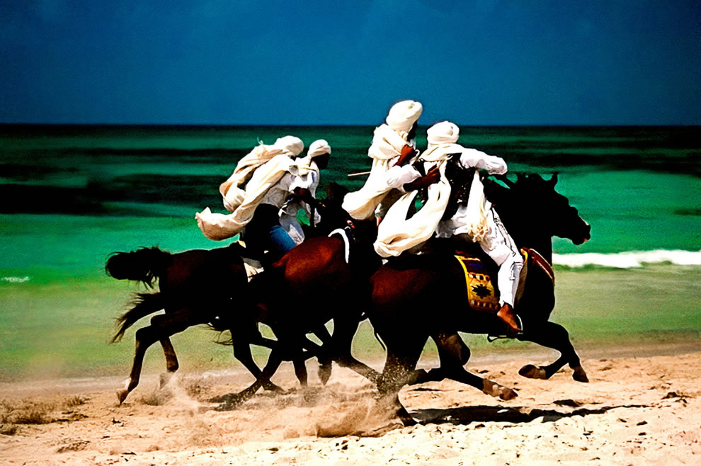 Berber warriors riding on the Barbary Coast of North Africa