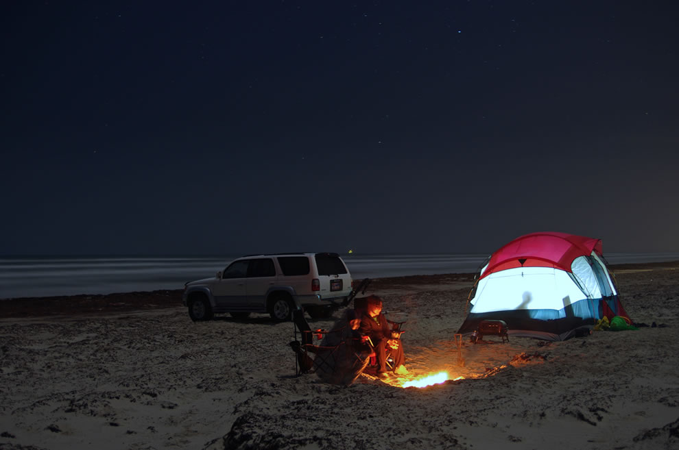 Clear, starry night at Mustang Island State Park on the Texas Coast