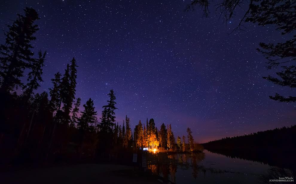 Distant campfire, Thompson-Nicola, British Columbia, Canada