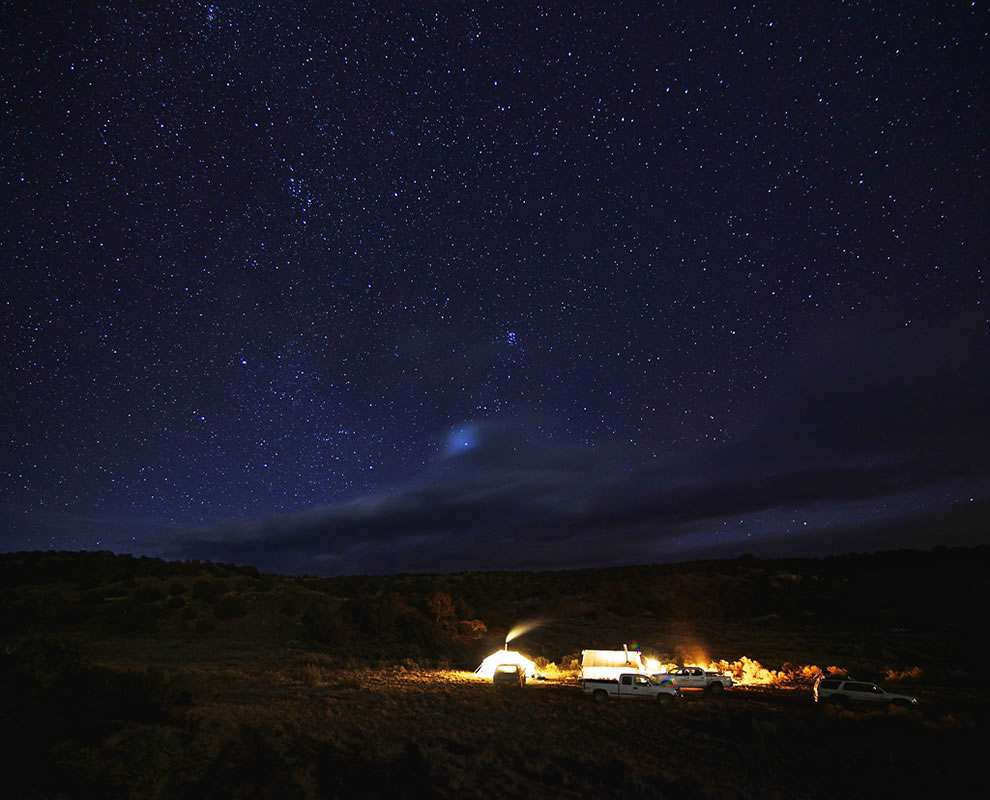 Hunt camp under the stars near Meeker, Colorado