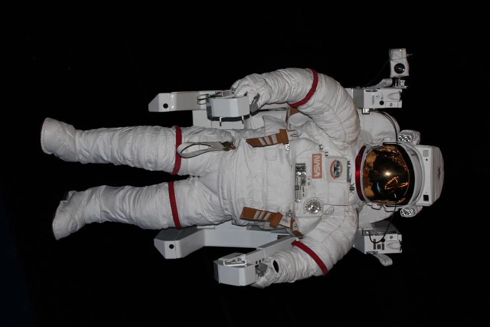 Looking up at an astronaut overhead at Kennedy Space Center Atlantis exhibition
