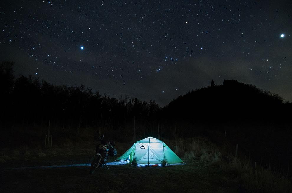 Motorcycle camping, Toksushima, Japan
