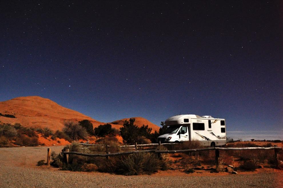 Navion at night near Slickrock Trail, located near Moab, Utah