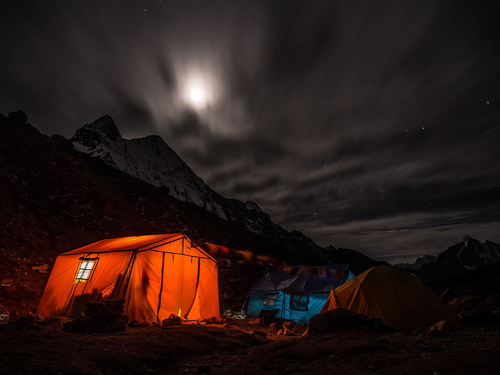 Night camp, moon rising over Island Peak's base camp, Nepal Himalaya