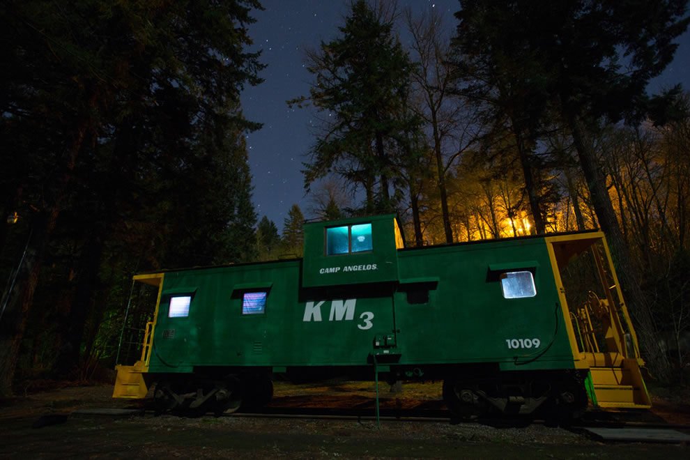 Starry Night over Camp Angelos Caboose