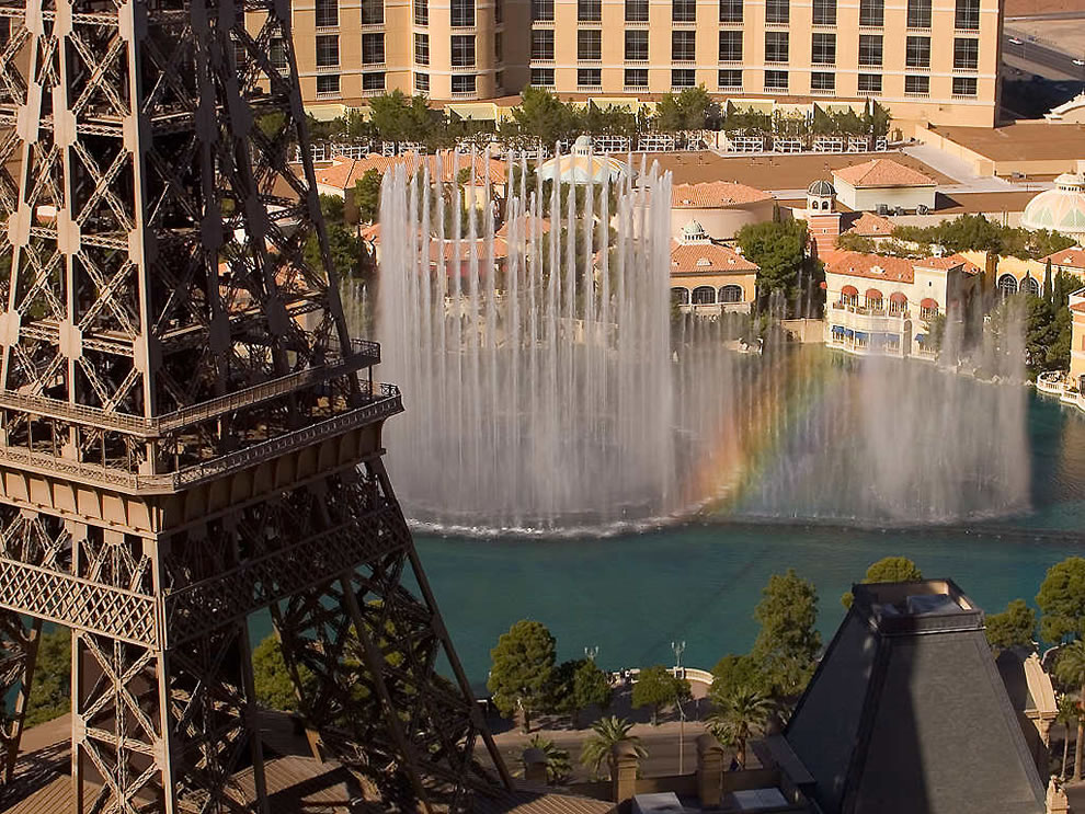 The Fountains of Bellagio as seen from the Paris Las Vegas hotel, across the Strip from the Bellagio
