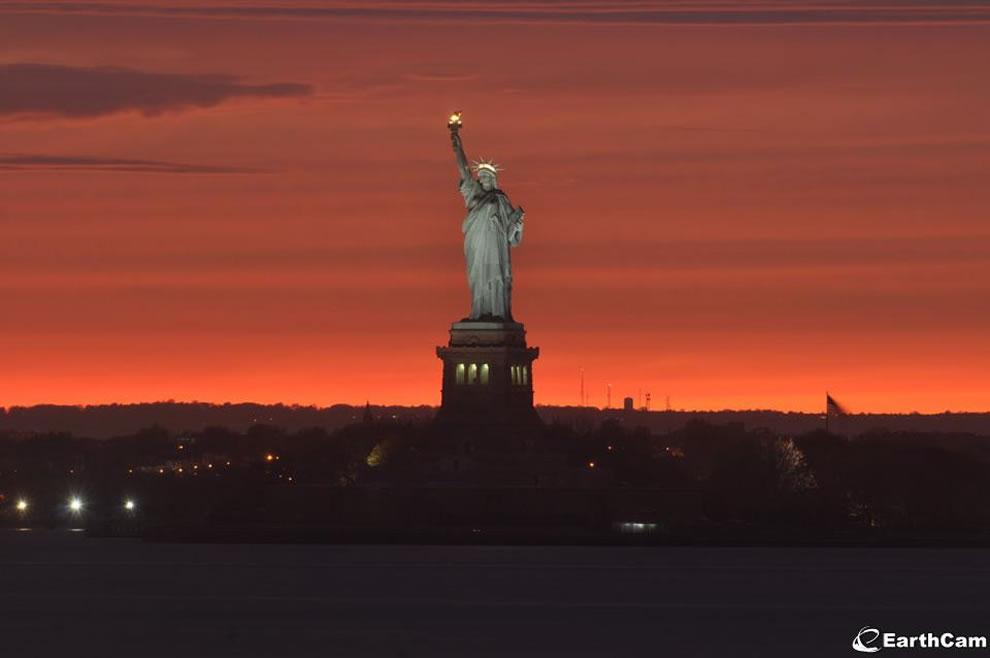 A beautiful Liberty Island sunset