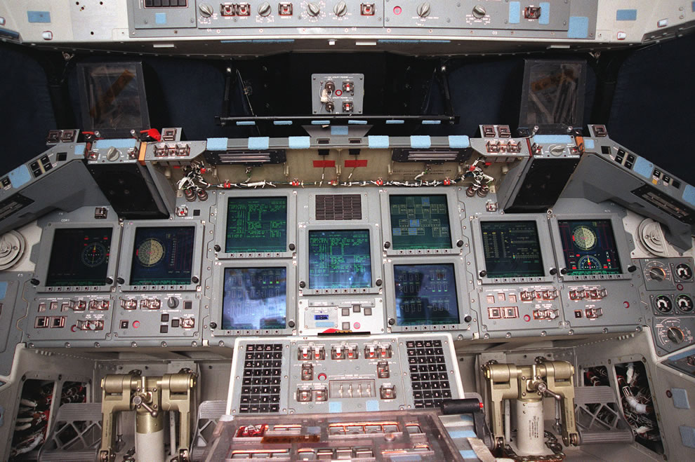 A look inside the new glass cockpit of the orbiter Atlantis as of April 1999