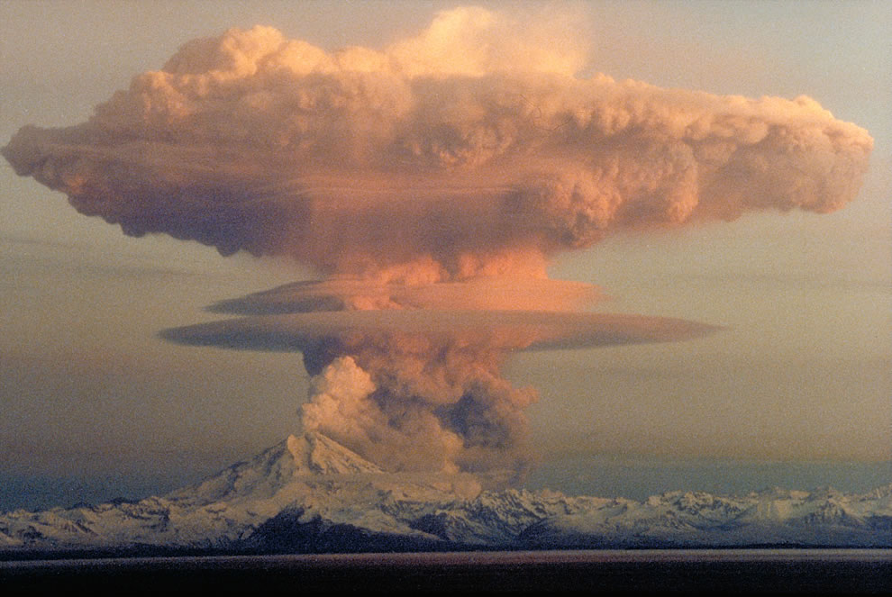 Ascending eruption cloud from Redoubt Volcano, 1990 at Lake Clark National Park and Preserve