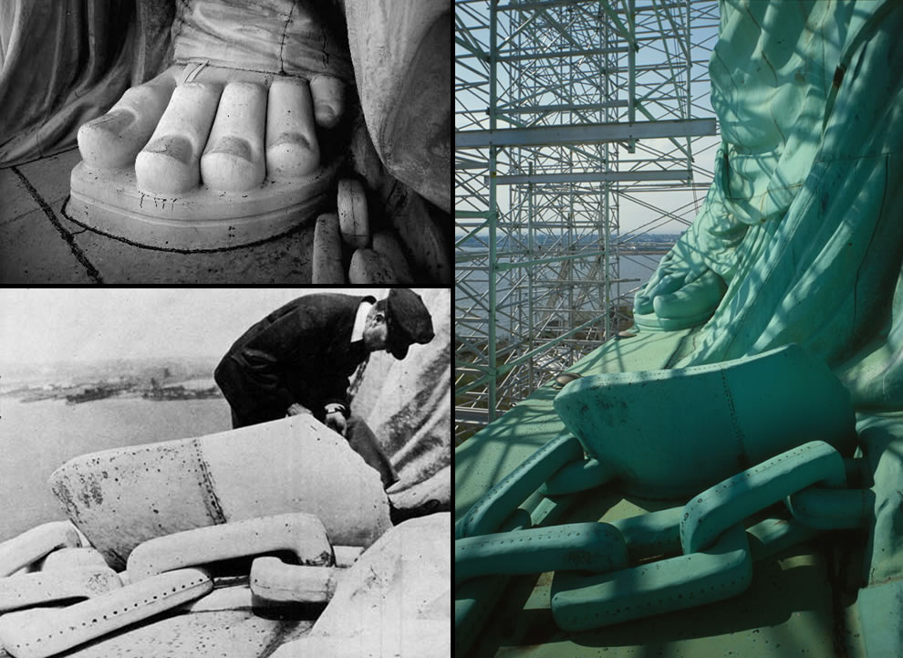 Close up of broken shackles on Statue of Liberty's foot, Lady Liberty, axe, chains