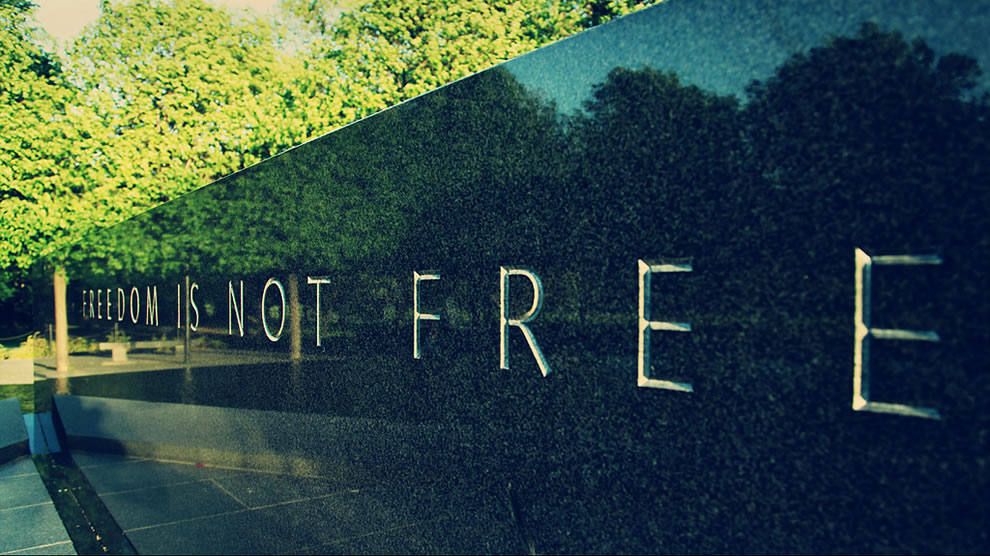 Freedom is not free, War Memorial in Washington DC