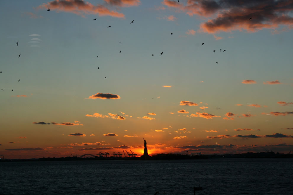 Lady Liberty and a bitterly cold sunset