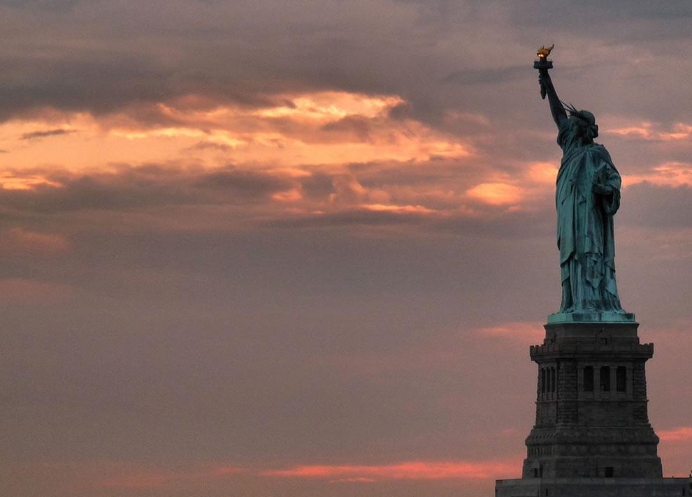 Lady Liberty at dusk