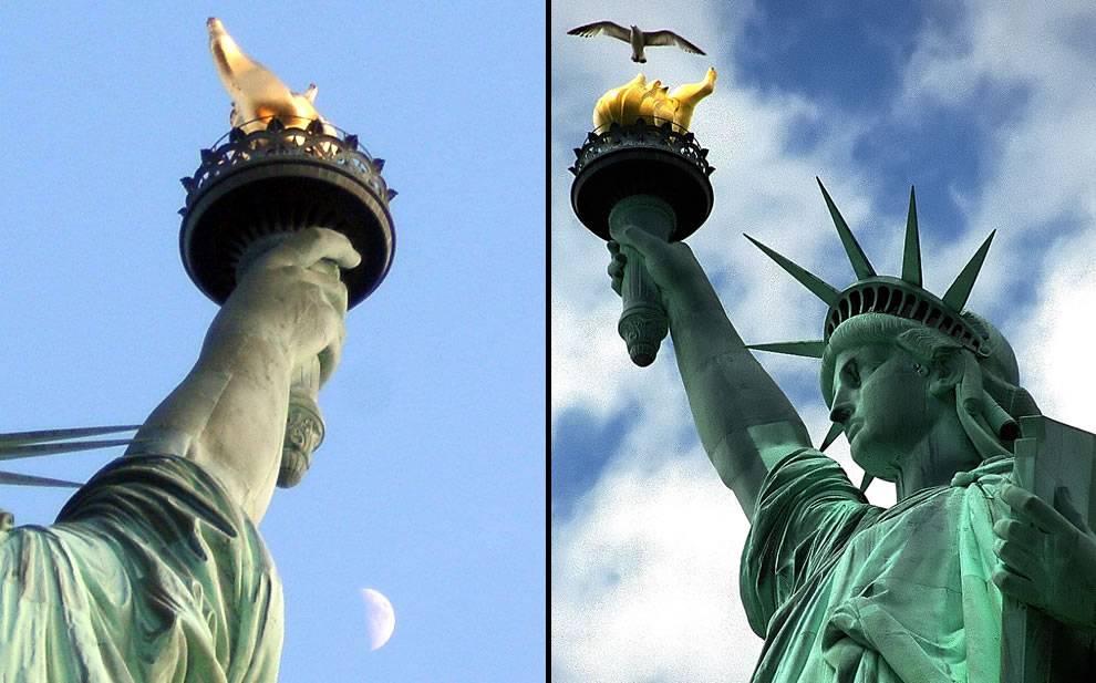 Moon and Lady Liberty's torch, Statue of Liberty & Seagull