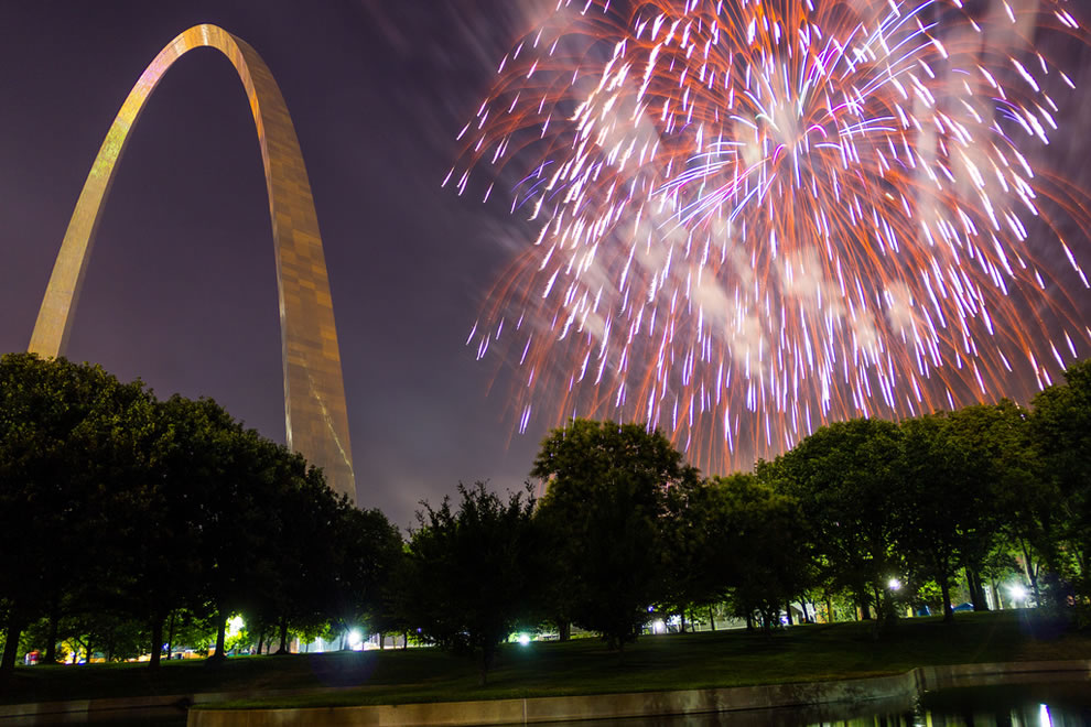 St Louis Gateway Arch and fireworks, St Louis, Missouri