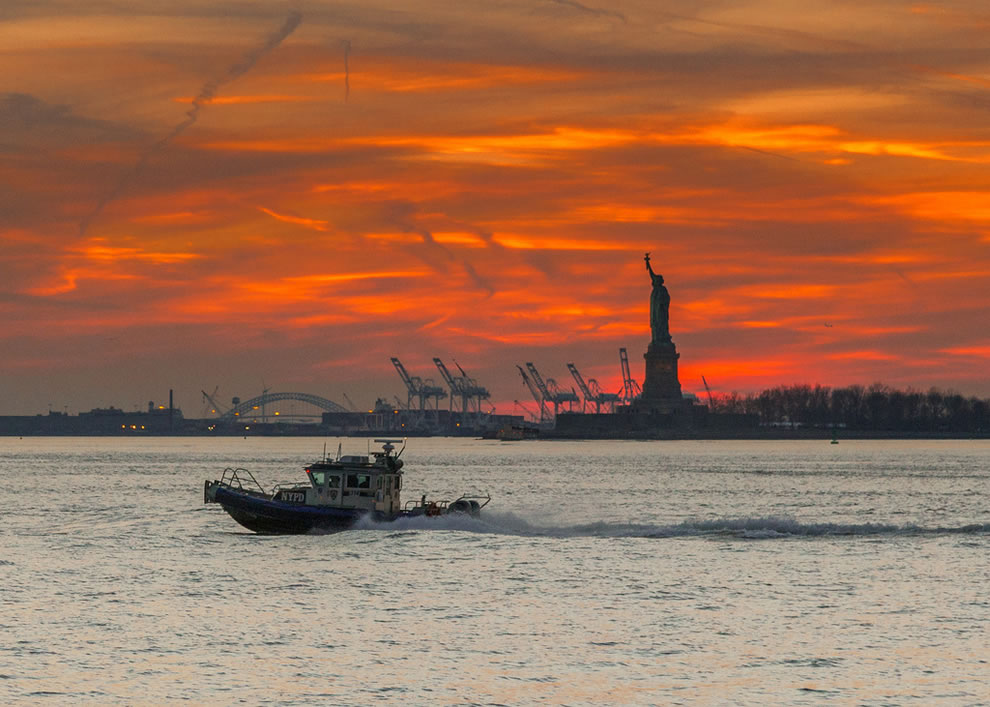 Statue of Liberty at Sunset in January