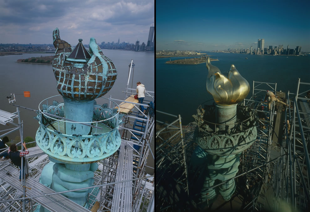 Statue of Liberty old flame in 1984, new flame in 1985