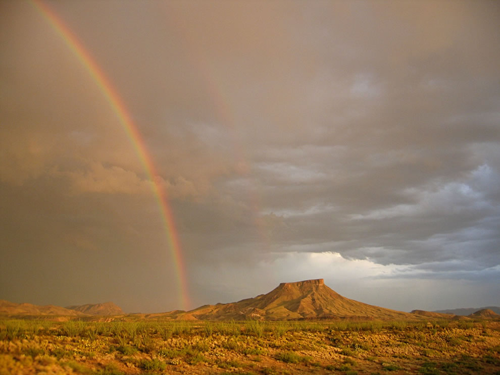 Tule Mountain in Big Bend National Park, double rainbow over the Chihuahuan Desert