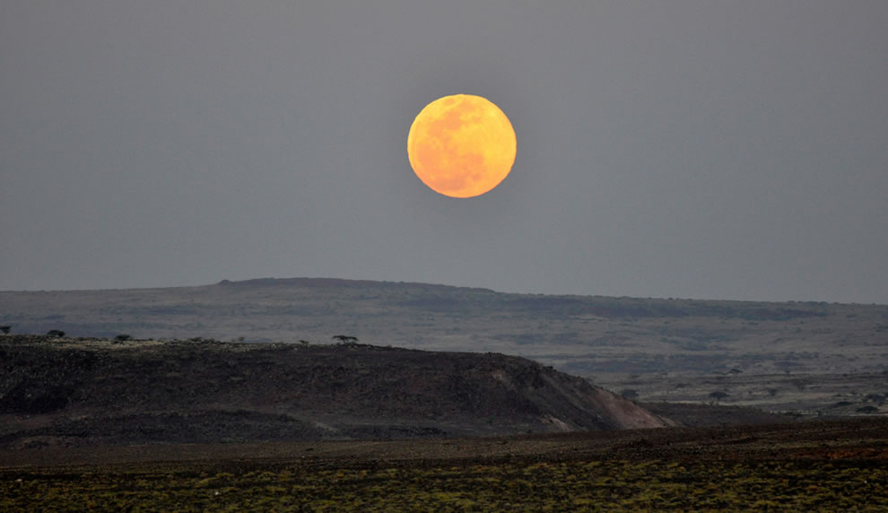 Full moon rising over Lake Turkana National Parks