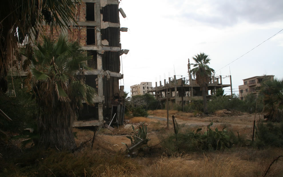 A view of Varosha from the path going to Palm Beach in Famagusta, Cyprus