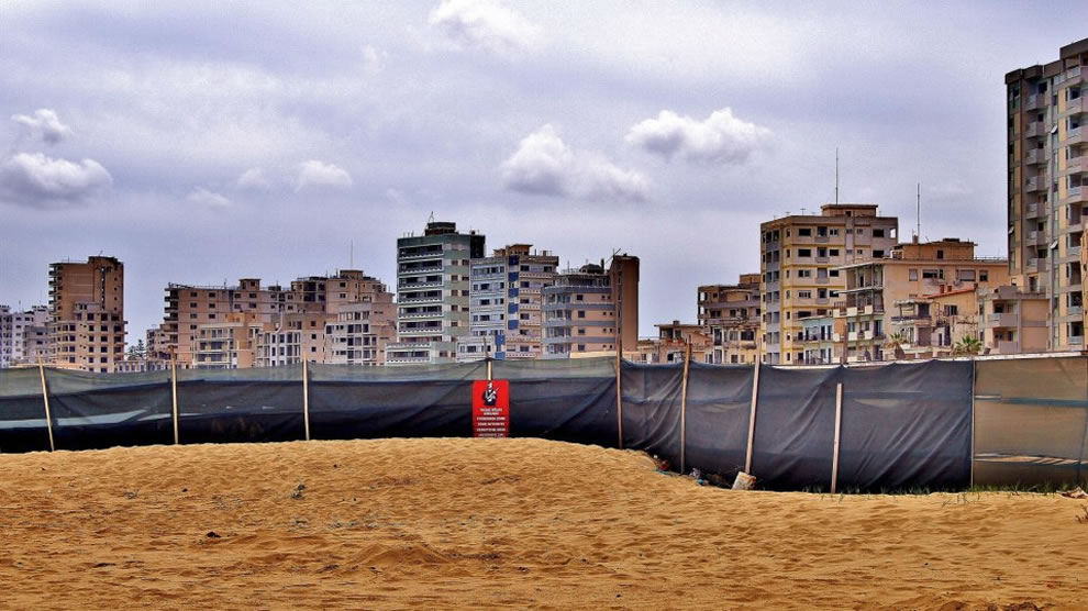 In the foreground is the Barrier which separates Varosha from the accessible area of Famasgusta Bay