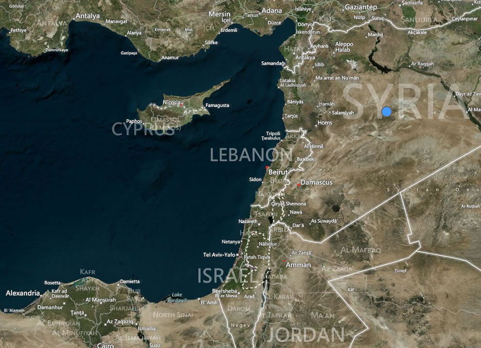 Mediterranean island of Cyprus and Famagusta with Syria to the right