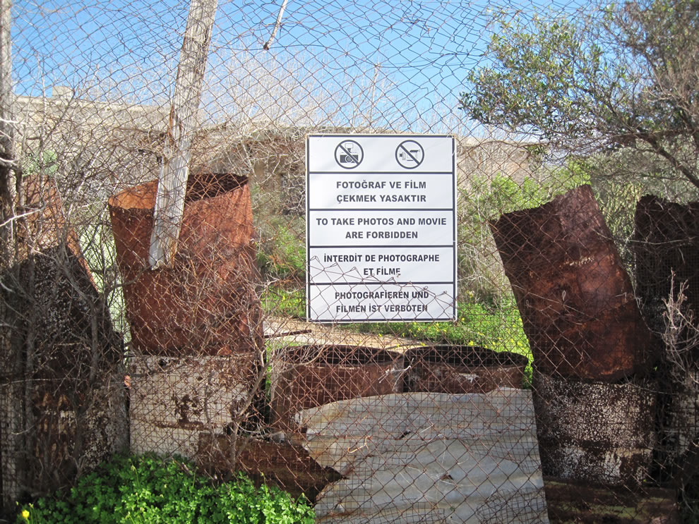 No photograph on fence barrier, Varosha in 2010