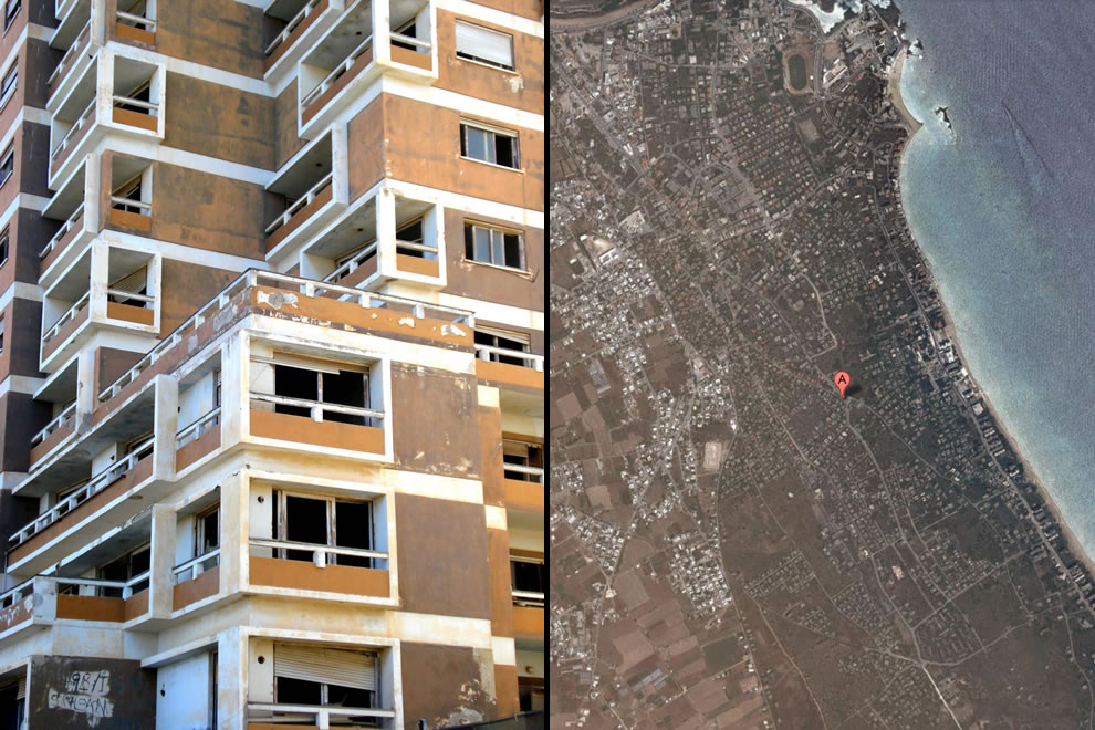 Varosha decaying upclose and from above