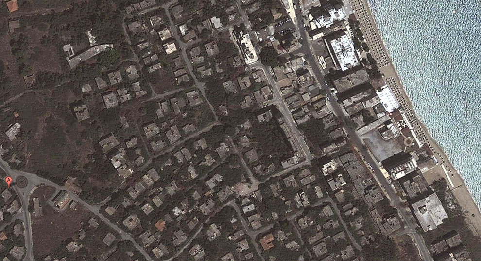 Varosha from above, dark and decaying since the 1970s