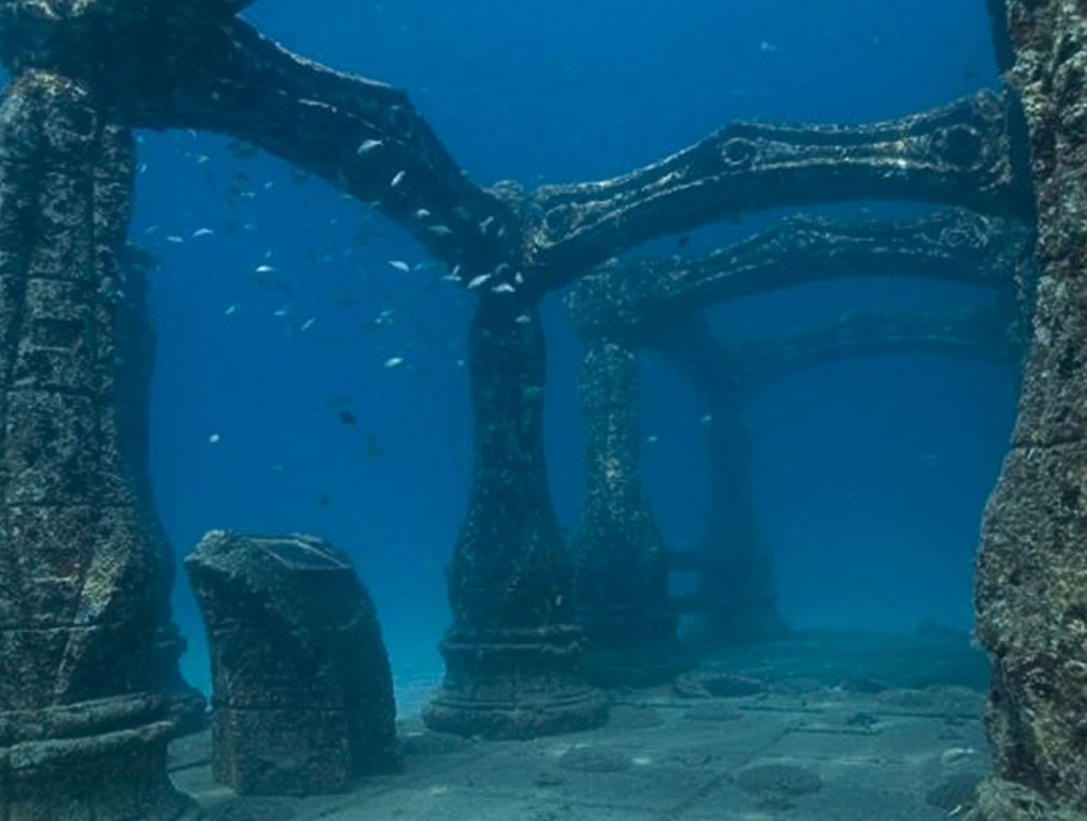 Arches and cremation burial plots at the Neptune Society Memorial reef