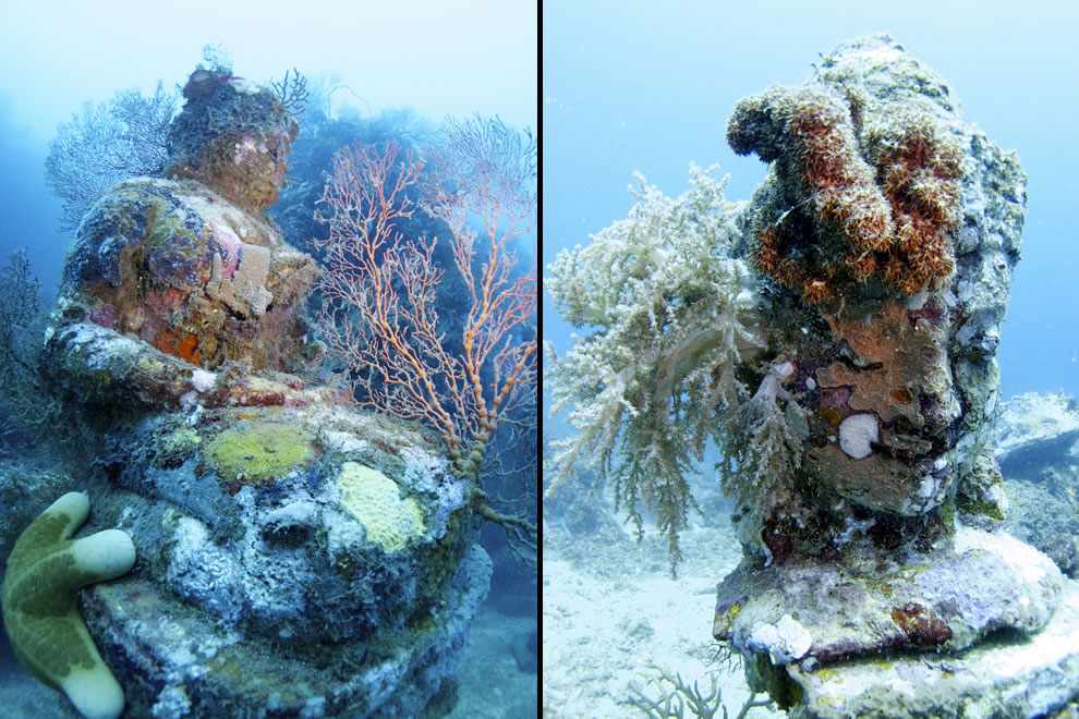 Buddha statues at the Temple, underwater Bali