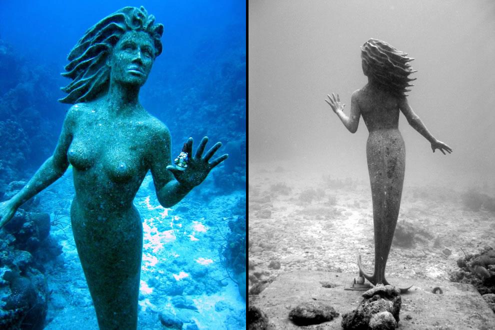 Cayman Island bronze mermaid underwater sculpture Amphitrite is 9 feet tall and 600 pounds
