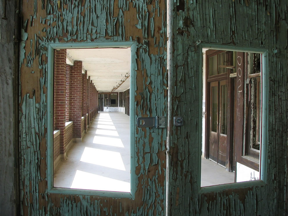 Doors to solarium at Waverly Hills Sanatorium