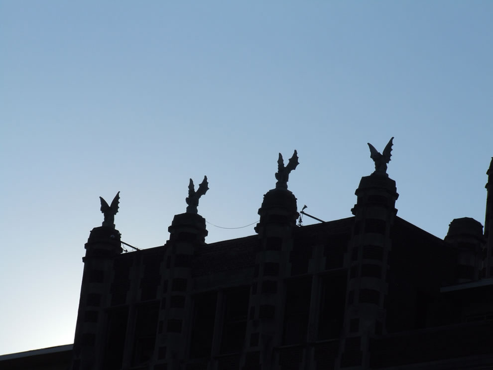 Dusk and gargoyles at Waverly Hills