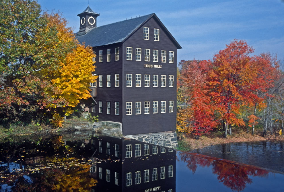 Fall colors at Old Mill in Hatfield, Massachusetts