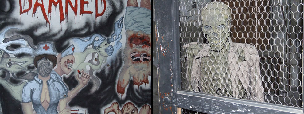 Graffiti and a left over Halloween prop inside Waverly Hills Sanatorium