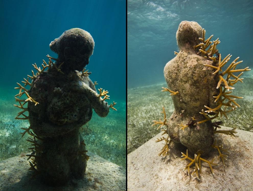 MUSA Cancun underwater park, sculptures by Roberto Díaz Abraham