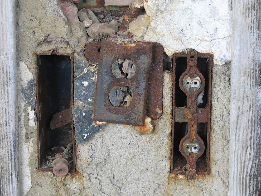 Rusty, crusty, scary electrical and radio outlets at Waverly Hills Sanatorium