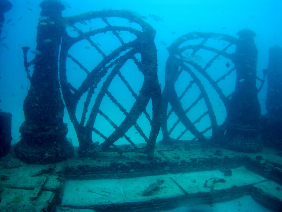 The gates of the Neptune Memorial Reef off the coast of Key Biscayne, Florida