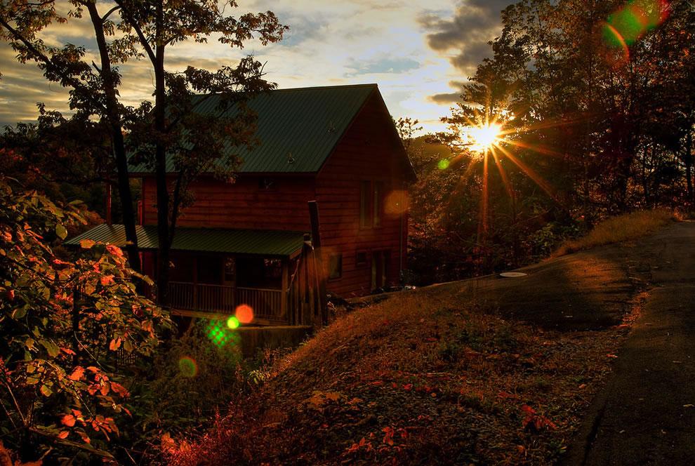 Cabin at Sunset in Smokies